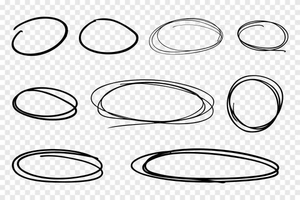 illustrazioni stock, clip art, cartoni animati e icone di tendenza di vector collection of hand drawn line circles - scarabocchi