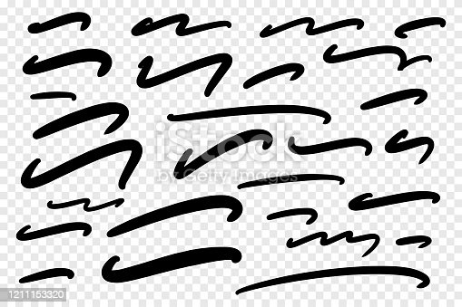 Vector collection of hand drawn underline on white background.