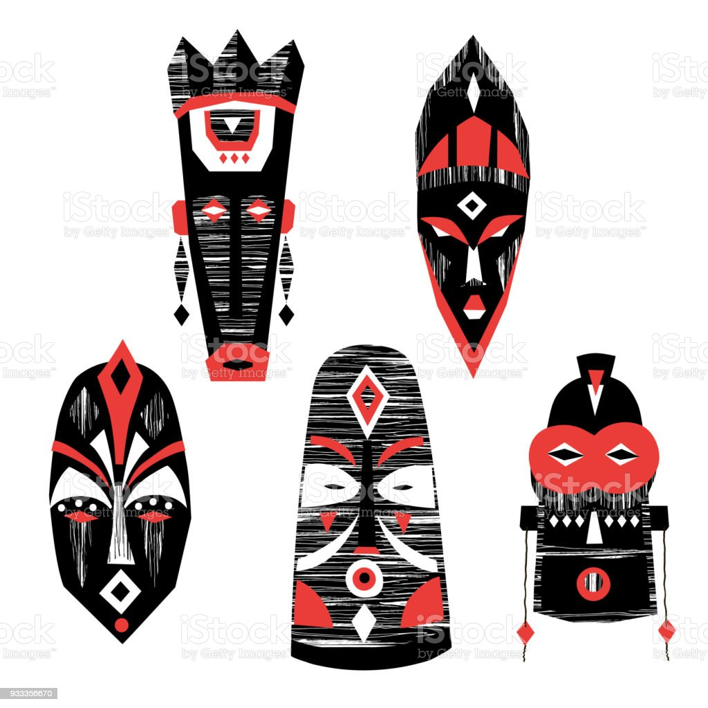Vector collection of hand-drawn African masks, totems, amulets. vector art illustration