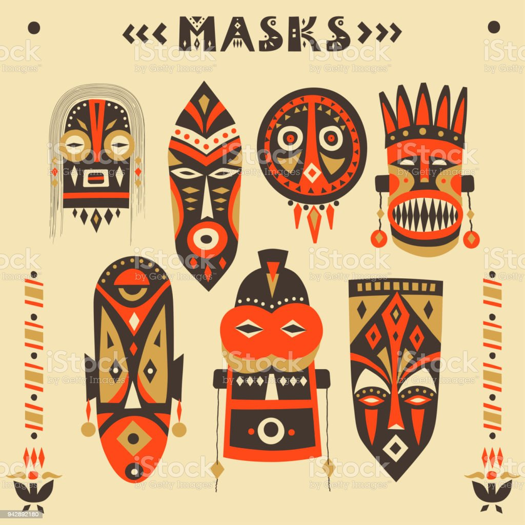 Vector Collection Of Handdrawn African Masks Totems Amulets Stock