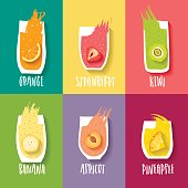 Vector collection of hand-drawn orange, strawberry, kiwi, banana, peach and pineapple  juices with blots and lettering on colorful background.