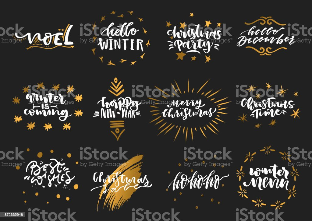 Vector collection of hand-drawn trendy white lettering with golden elements on theme of Christmas, winter, New Year on a black background.. vector art illustration