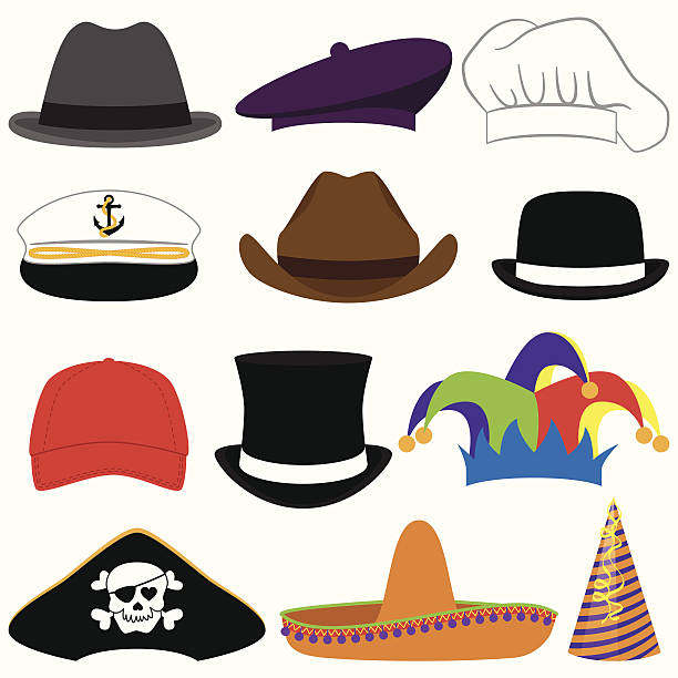 vektor-sammlung von hüte oder foto-arrangements - matrosenmütze stock-grafiken, -clipart, -cartoons und -symbole