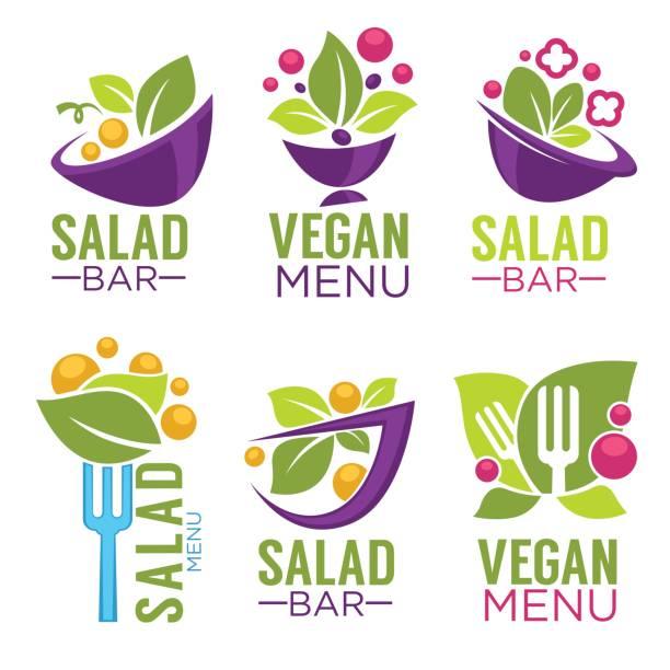 ilustrações de stock, clip art, desenhos animados e ícones de vector collection of healthy cooking icon and  organic food symbols for your salad bar or vegan menu - tigela