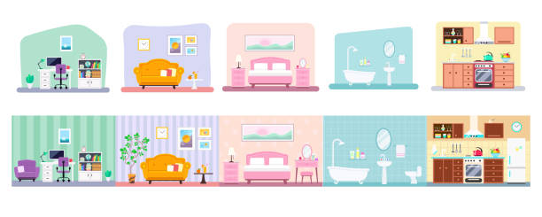 Vector collection of house rooms various design Collection of indoor house rooms interior design: kitchen, bathroom, living room, workplace, bedroom. Vector flat illustration isolated on white background dollhouse stock illustrations