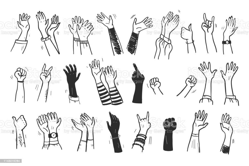 Vector inzameling van menselijke handen omhoog, gebaren, duim omhoog, groet, applaus zo op geïsoleerd op witte achtergrond. - Royalty-free Afrikaanse etniciteit vectorkunst