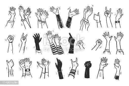 Vector collection of human hands up, gestures, thumb up, greeting, applause so on isolated on white background. Hand drawn, flat, sketch style. For cards, advertising, banners, invitations, tags etc.