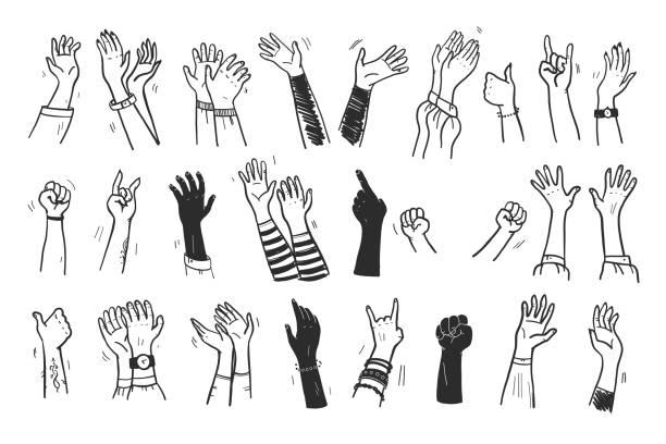 illustrazioni stock, clip art, cartoni animati e icone di tendenza di collezione vettoriale di mani umane in su, gesti, pollice in su, saluto, applausi così su sfondo bianco. - hands