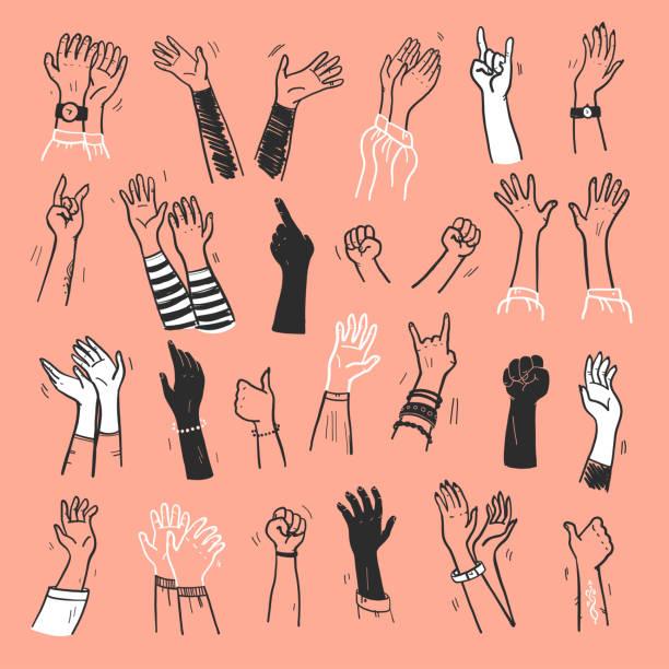 stockillustraties, clipart, cartoons en iconen met vector inzameling van menselijke handen omhoog, gebaren, duim omhoog, groet, applaus zo op geïsoleerde op lichte achtergrond. - hand