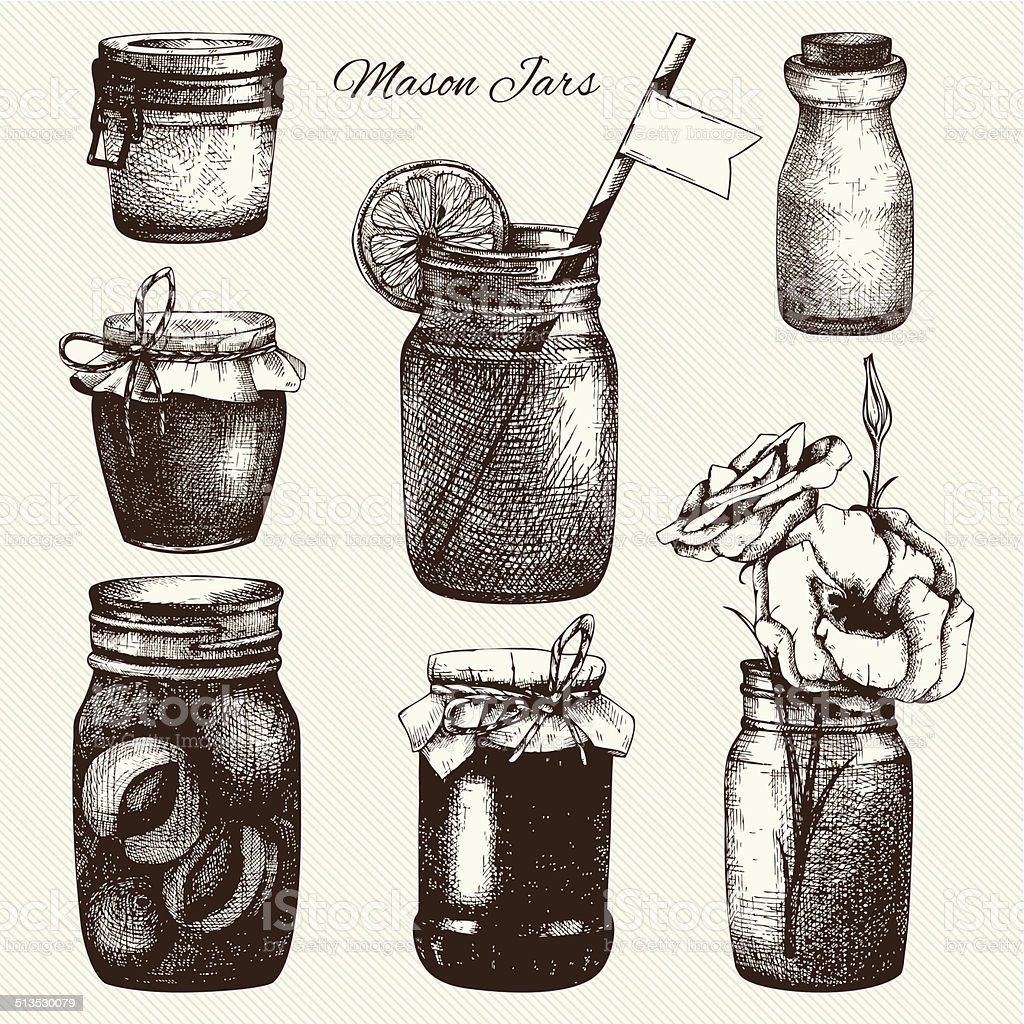 Vector collection of ink hand drawn mason jars. vector art illustration