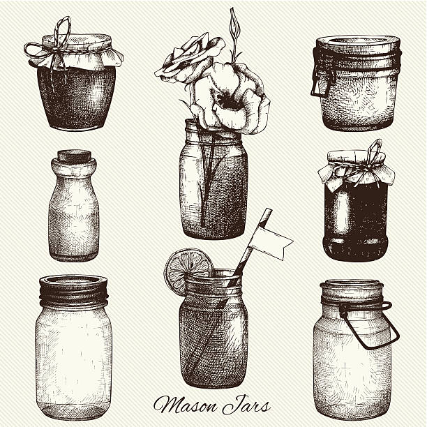 ilustraciones, imágenes clip art, dibujos animados e iconos de stock de tinta colección de vectores dibujados a mano mason frascos. - comida casera