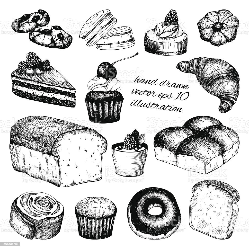 Vector collection of ink hand drawn vintage breads and pastries royalty-free vector collection of ink hand drawn vintage breads and pastries stock illustration - download image now