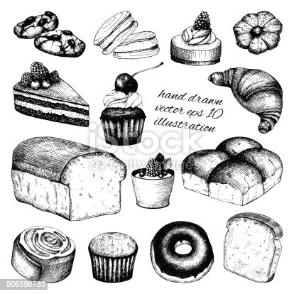 Vector collection of ink hand drawn vintage breads and pastries illustration isolated on white background for restaurant or bakery menu.
