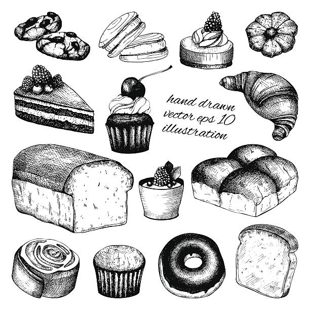 Vector collection of ink hand drawn vintage breads and pastries vector art illustration