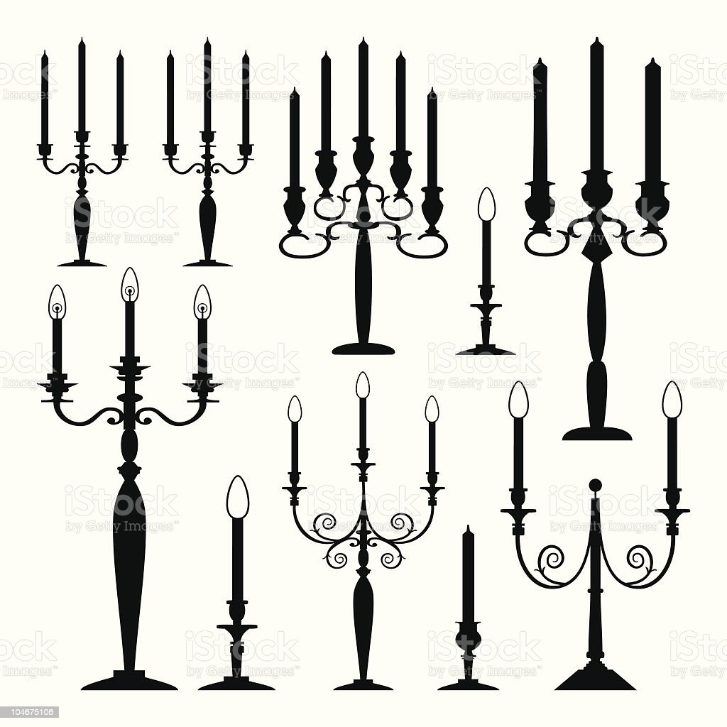 Vector collection of isolated candle silhouettes vector art illustration