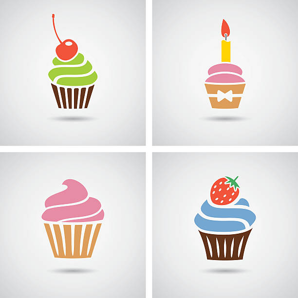 vector collection of isolated colorful cupcakes icons vector collection of isolated colorful cupcakes icons. EPS10. Contains transparent objects cupcake stock illustrations