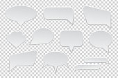 Vector collection of isolated speech bubbles on the transparent background.