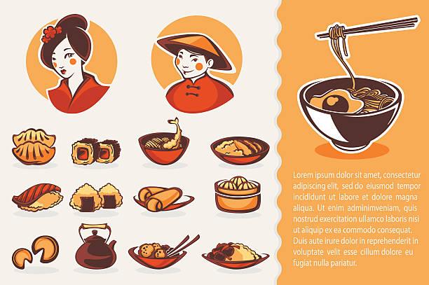 ilustrações de stock, clip art, desenhos animados e ícones de coleção de vetores de símbolos de comida japonesa - woman eating salmon