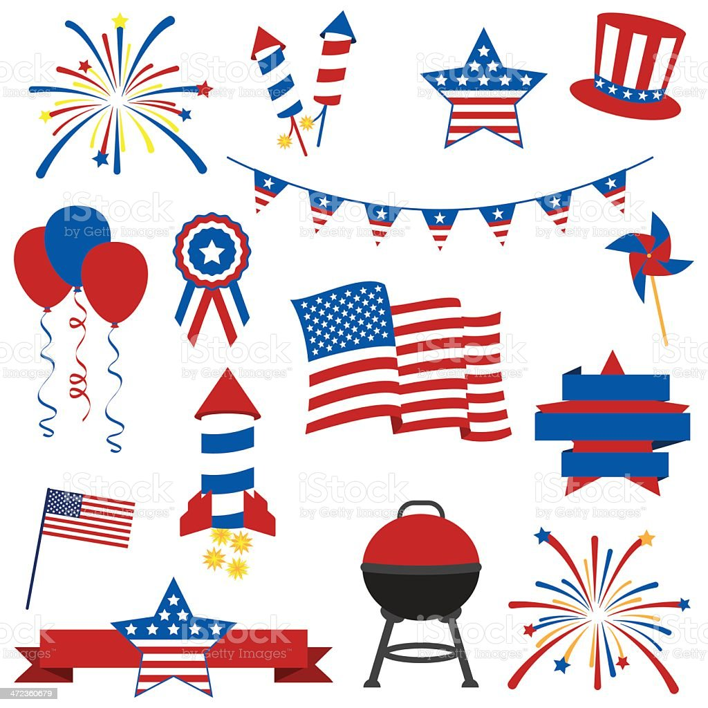 Vector Collection of July 4th Images vector art illustration