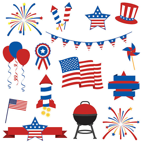 Vector Collection of July 4th Images Vector Collection of Fourth of July Items. No transparencies or gradients used. Large JPG included. Each element is grouped individually for easy editing. independence day illustrations stock illustrations