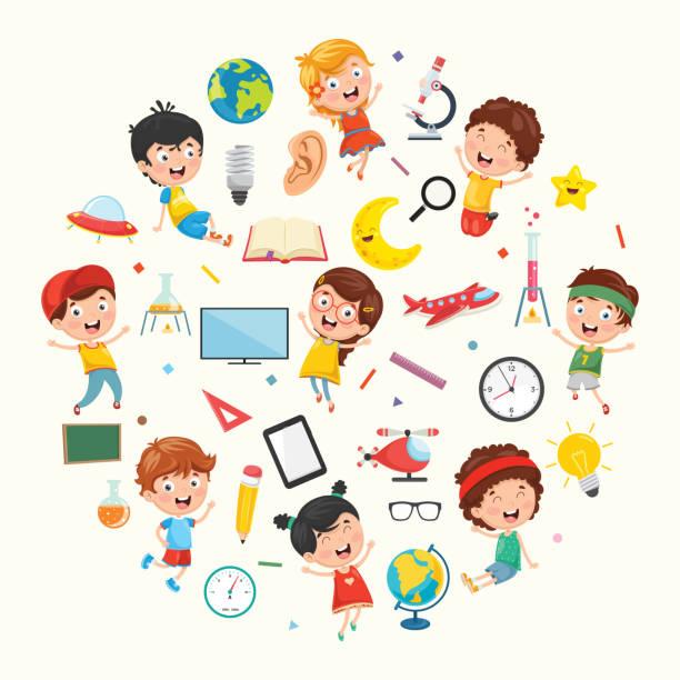 ilustraciones, imágenes clip art, dibujos animados e iconos de stock de colección de vector de los niños y la ilustración de la ciencia - clase de ciencias