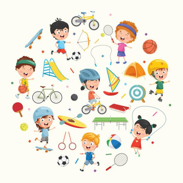 stockillustraties, clipart, cartoons en iconen met vector-collectie voor de kids en sport illustratie - samen sporten