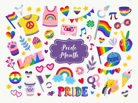 Vector collection of LGBTQ community symbols. Hand drawn icon set