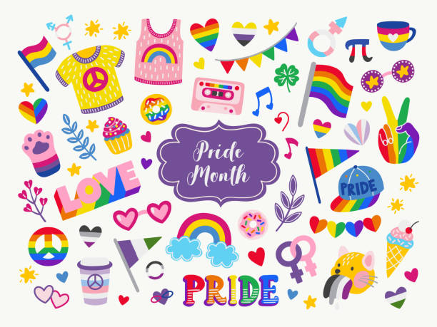 Vector collection of LGBTQ community symbols. Hand drawn icon set Vector collection of LGBTQ community symbols with pride flags, gender signs, rainbow colored sweet food, apparel. Pride month hand drawn concept. Gay parade symbols. LGBTQ icon set. gay person stock illustrations