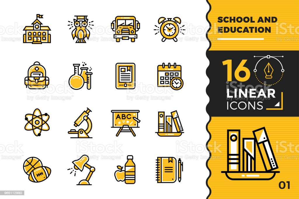Vector collection of line icons, back to school. High quality modern pictograms for mobile concepts and web design. vector collection of line icons back to school high quality modern pictograms for mobile concepts and web design - stockowe grafiki wektorowe i więcej obrazów atom royalty-free