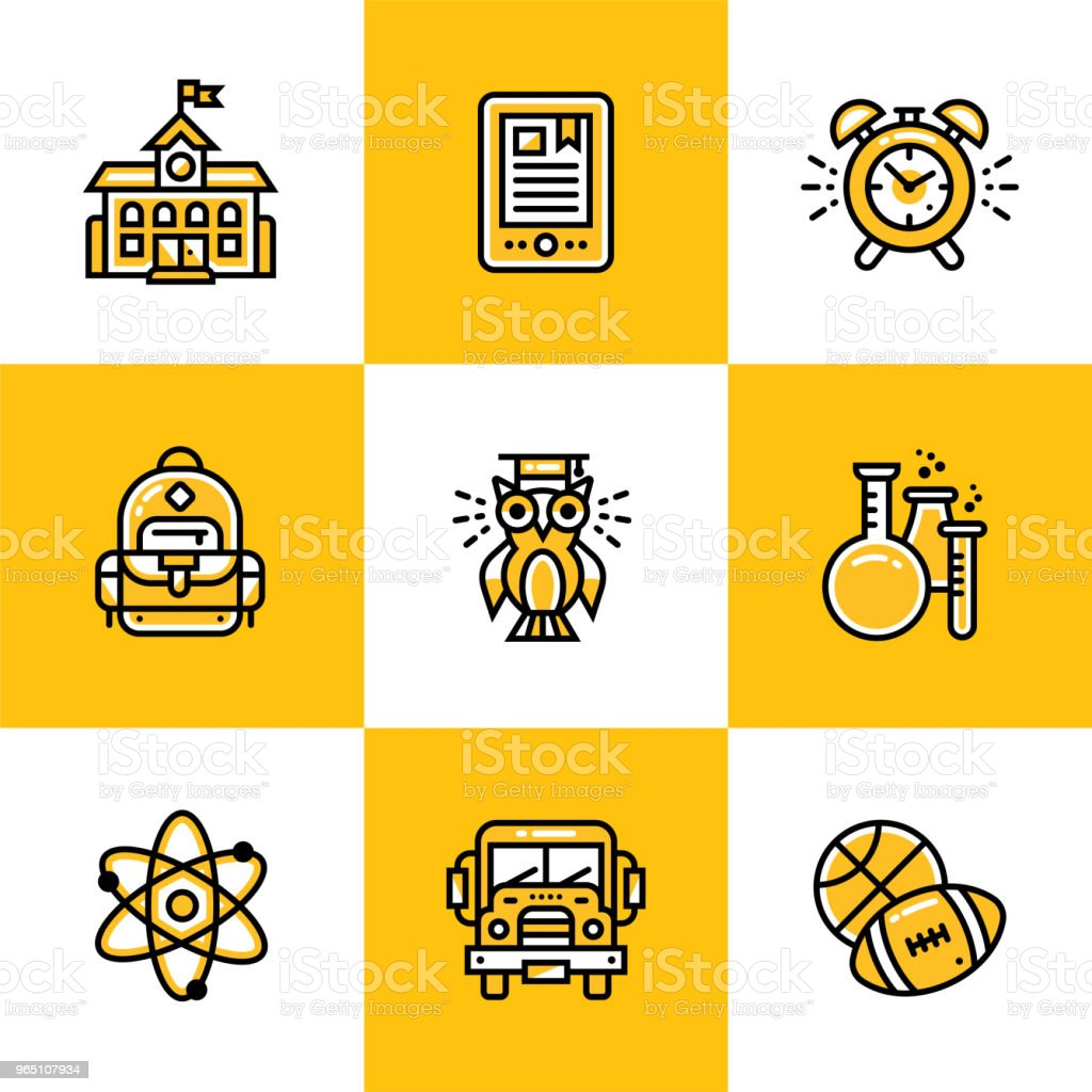 Vector collection of line icons for back to school. High quality icons suitable for mobile apps, websites and illustration vector collection of line icons for back to school high quality icons suitable for mobile apps websites and illustration - stockowe grafiki wektorowe i więcej obrazów autobus szkolny royalty-free