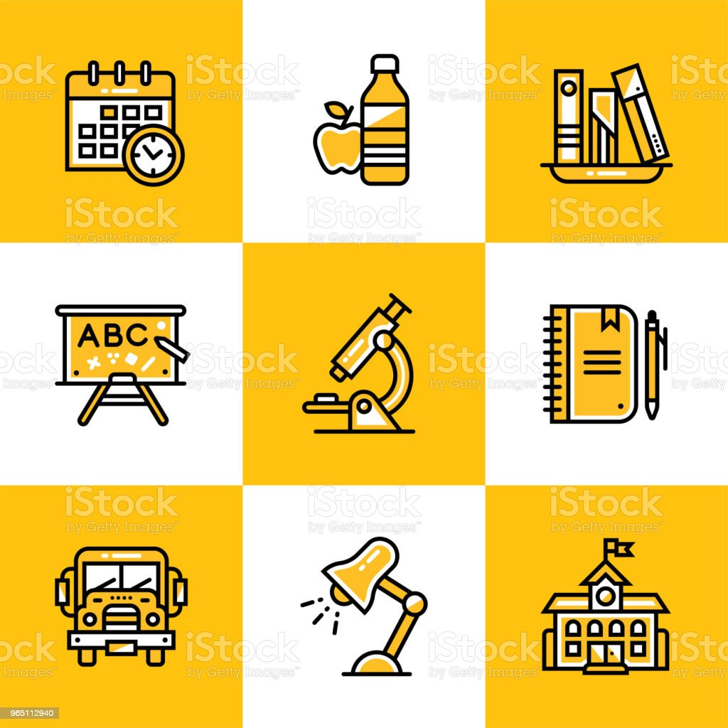 Vector collection of line icons for back to school. High quality icons suitable for mobile apps, websites and illustration royalty-free vector collection of line icons for back to school high quality icons suitable for mobile apps websites and illustration stock vector art & more images of design