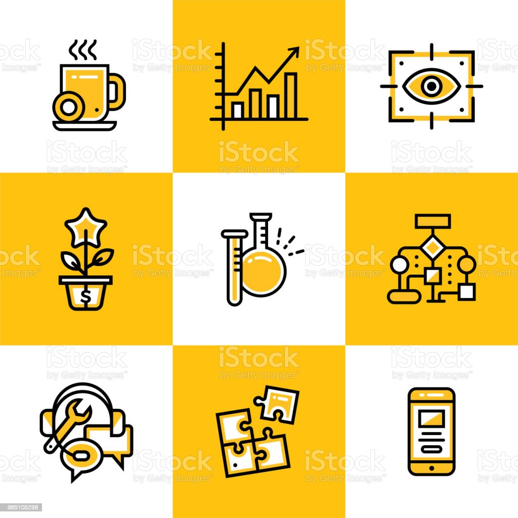 Vector collection of line icons for new business. High quality icons suitable for mobile apps, websites and illustration royalty-free vector collection of line icons for new business high quality icons suitable for mobile apps websites and illustration stock vector art & more images of business