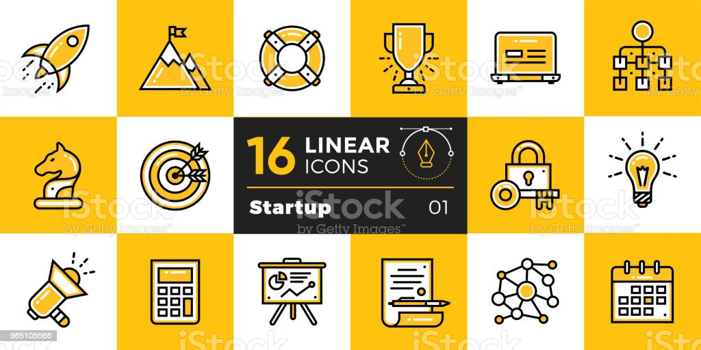 Vector collection of line icons for new business. High quality modern pictograms for mobile concepts and web design. royalty-free vector collection of line icons for new business high quality modern pictograms for mobile concepts and web design stock vector art & more images of business