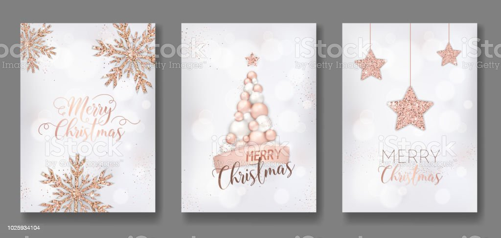 vector collection of merry christmas cards with rose gold glitter christmas balls star christmas tree flyer