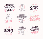 Vector collection of Merry Christmas congratulation compositions with text and outline traditional decor icons - fir tree, snowflake, gift box, cone, star etc.