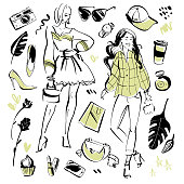 Vector collection of modern fashion elements and beautiful models for summer time - clothing, personal style, trendy look, cosmetics, accessory, shoe etc isolated. Hand drawn sketch style.