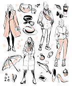 Vector collection of modern fashion elements and beautiful models for autumn, spring time - clothing, personal style, trendy look, cosmetics, accessory, shoe etc isolated. Hand drawn sketch style.