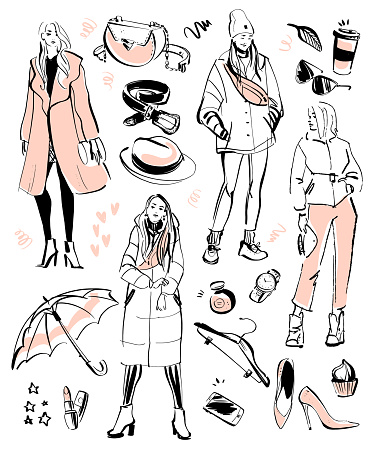 Vector collection of modern fashion elements and beautiful models for autumn, spring time - clothing, personal style, trendy look, cosmetics, accessory, shoe etc isolated.