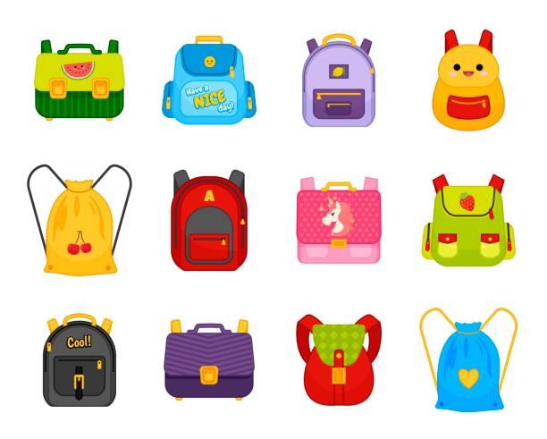 stockillustraties, clipart, cartoons en iconen met vector verzameling van veelkleurige school rugzakken. - schooltas