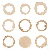vector collection of natural coffee stains
