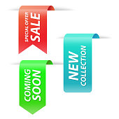 Vector collection of new collection, special offer, coming soon and sale tags for webpage and advertising.