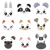 Vector collection of nine cute animal faces for kids dezign