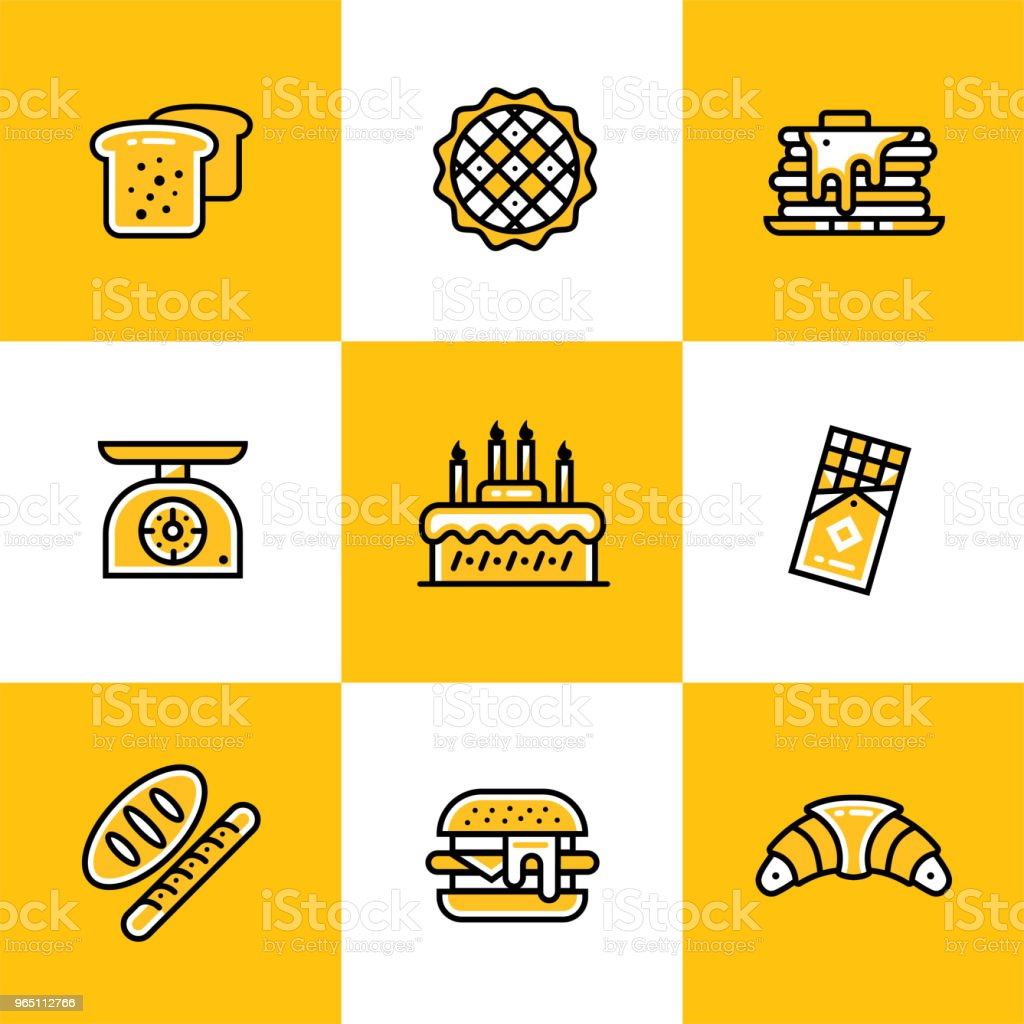 Vector collection of outline icons, bakery and cooking. High quality icons suitable for websites, print and illustration royalty-free vector collection of outline icons bakery and cooking high quality icons suitable for websites print and illustration stock vector art & more images of apple pie