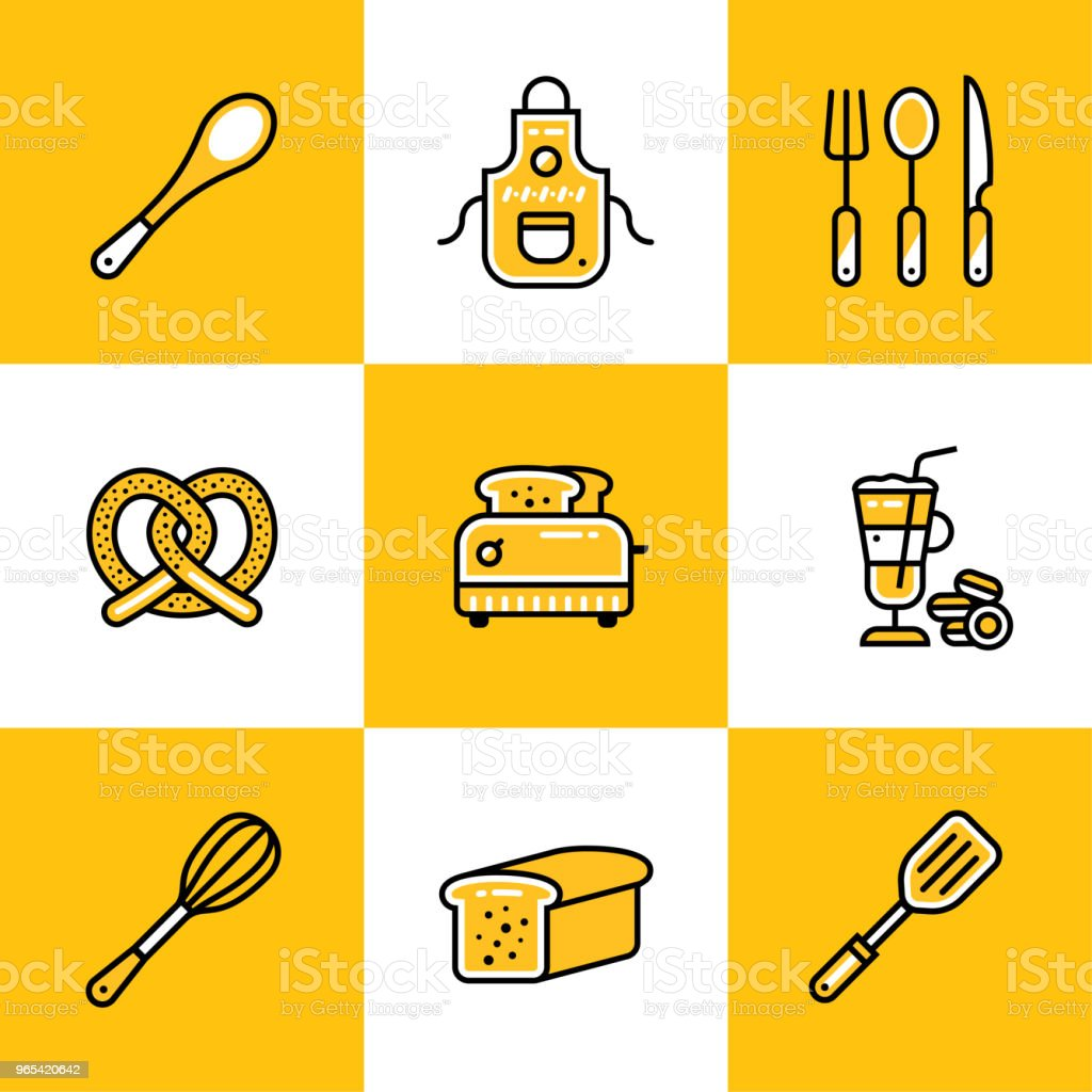 Vector collection of outline icons, bakery, cooking. Premium quality modern icons suitable for info graphics, print media and interfaces royalty-free vector collection of outline icons bakery cooking premium quality modern icons suitable for info graphics print media and interfaces stock vector art & more images of bakery