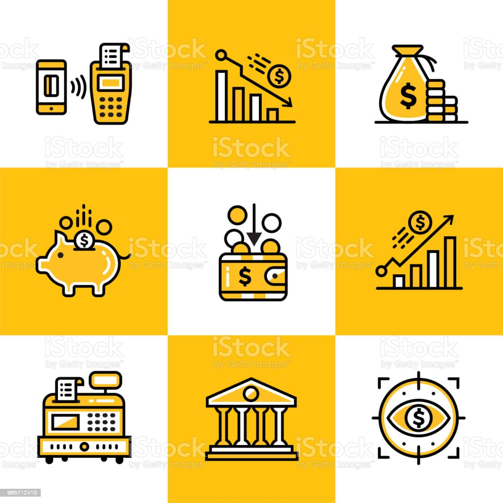 Vector collection of outline icons, finance, banking. Premium quality modern icons suitable for info graphics, print media royalty-free vector collection of outline icons finance banking premium quality modern icons suitable for info graphics print media stock illustration - download image now