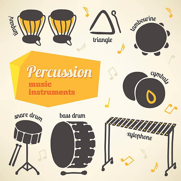 wektor kolekcja perkusyjne instrumenty muzyczne - talerz perkusyjny stock illustrations