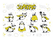 Vector collection of pig super hero hand drawn characters isolated on white background.