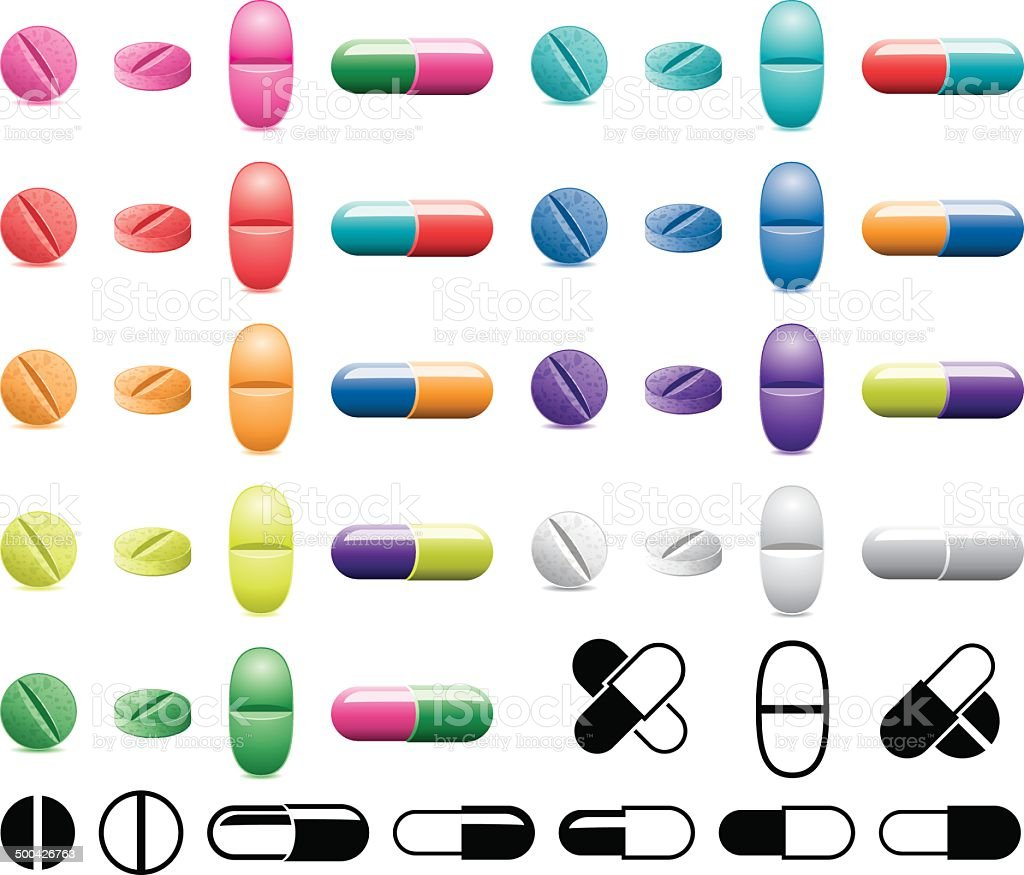 vector collection of pills, capsules and black and white symbols royalty-free stock vector art