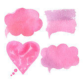 Vector collection of pink watercolor speech bubbles, rectangles, heart, shapes on white background. Hand drawn paint stains set.