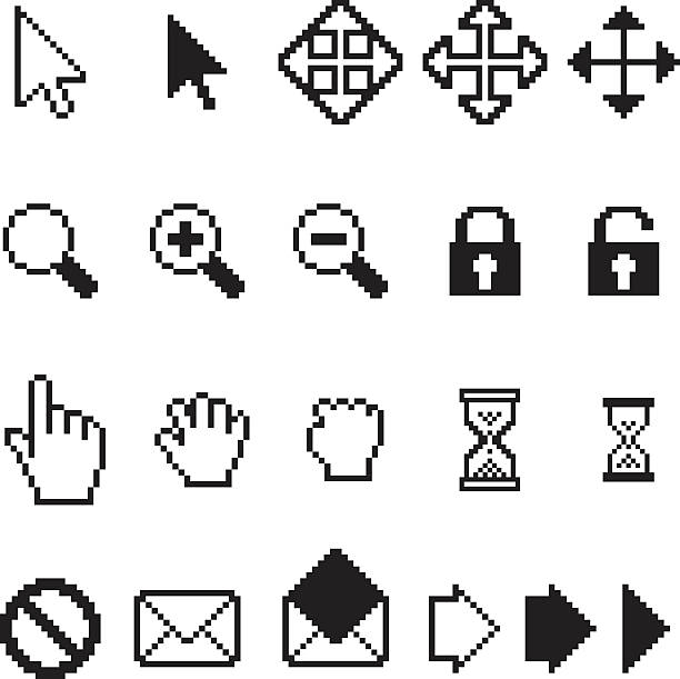 Vector collection of pixel computer icons Vector collection of pixel computer icons low scale magnification stock illustrations